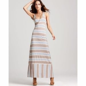 Splendid Khaki Palm Striped Maxi Dress